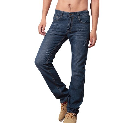 Mens Concealed Zipper Side Low Rise Autumn Fashion Casual Jeans Light Blue W32