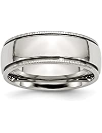 stainless steel 8mm grooved beaded polished wedding ring band by chisel size 8 13 - Stainless Steel Wedding Rings