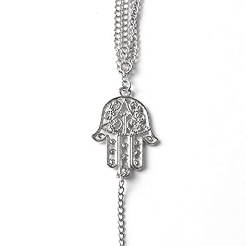 Women's Day Gift Silver Hamsa Hand Charm Slave Style Ring Chain Alloy (Evil Eye Anello)