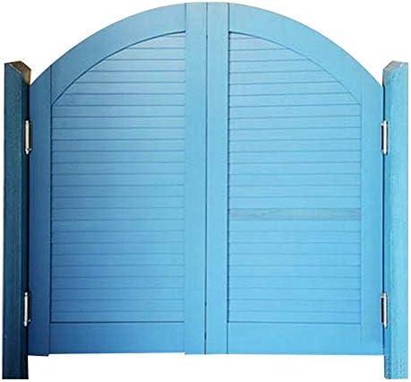 LIANGLIANG 回転カフェドア、ヨーロピアンスタイルの庭の金属ヒンジ厚い春純木の棒屋内純木の格子シャッタードア、カスタマイズ (Color : Blue, Size : 110x100cm)