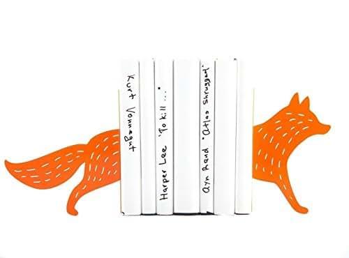 Children's bookends Running Fox. Animal themed teen's room. Nursery decor. Holders for kid's books. Woodland dwellers. Orange fox.