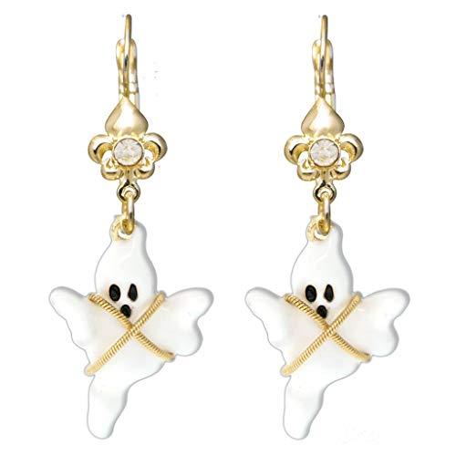 Ritzy Couture Women's Fleur-de-Lis Halloween Ghost Story Poltergeist Spooky Crystal Leverback Earrings (Goldtone)