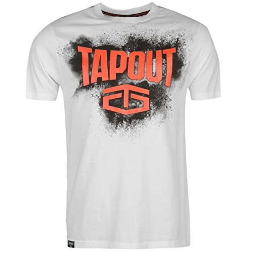 Tapout Placement T-Shirt Mens White Sportswear Top Tee Shirt Large (T Tapout Shirt)