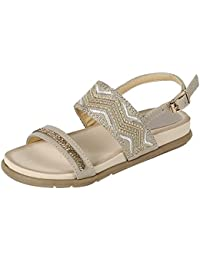 Christmas Special Sale Heather Wavy Embroidered Glittery Sandals with Buckle for Little Girls (Assorted Colors)