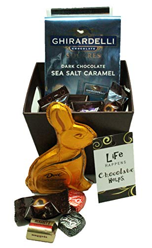 Dark Chocolate Easter Basket For Adults Featuring Ghirardelli, Dove, Hersheys and Lindt