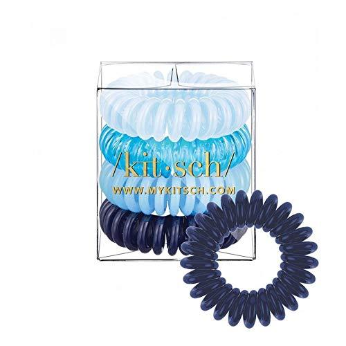 (Kitsch Spiral Hair Ties, Coil Hair Ties, Phone Cord Hair Ties, Hair Coils - 4 Pcs, Denim)