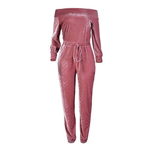 Pink Jumpsuit (Women Velvet Off Shoulder Jumpsuit Long Sleeve Party Club Rompers Pink XL)