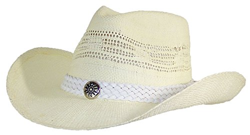 Victoria Adult Straw White Cowboy Hat W/Band, Button W/Etched Sun (One Size)