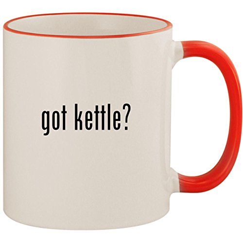 (got kettle? - 11oz Ceramic Colored Handle & Rim Coffee Mug Cup, Red)