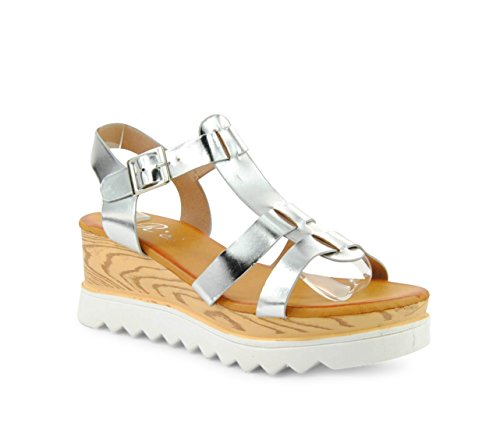 Damen Sandalen Keilabsatz Plateau Wedge Sandaletten Glanz Metallic ST557 Silber