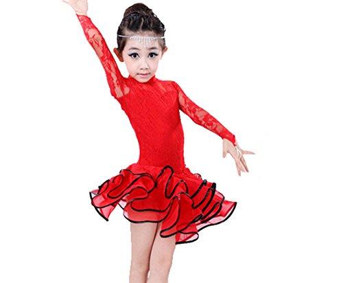 [Girls performing costumes Latin dance dress Cha Cha skirts Tango dress red 140] (Chacha Dance Costume)