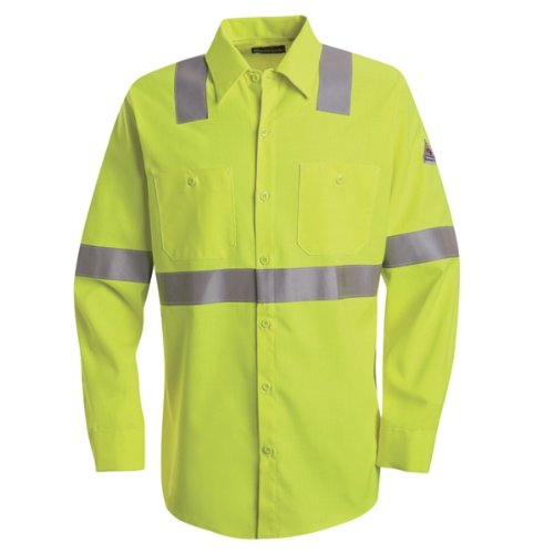 Bulwark Hi-Visibility Flame-Resistant Work Shirt-Long Sleeve, Men, SMW4HV, LNXL