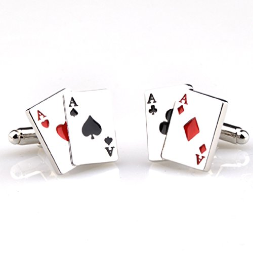 MRCUFF Aces 4 Four Playing Cards Poker Gambling Casino Pair Cufflinks in a Presentation Gift Box & Polishing Cloth ()