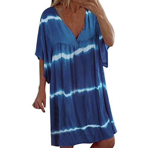Star Trek Mini Dress (UONQD 2019 New Dresses, Women Plus Size V-Neck Casual Loose Pullover Tie Dye Print Mini Dresses)