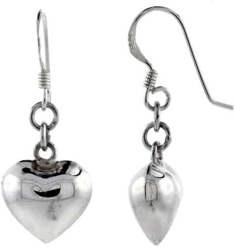 Sterling Silver Heart Earrings 3/4 inch