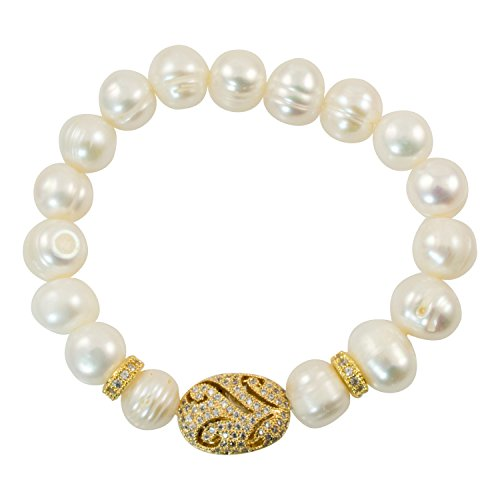 Just Give Me Jewels Baroque Freshwater-Cultured Pearl with Gold-Plated Oval Focal Bead Stretch Bracelet
