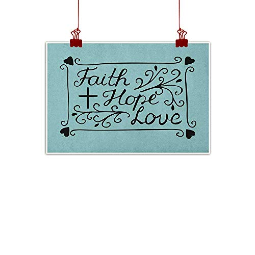 Sunset glow Fabric Cloth Rolled Hope,Hand Lettering Spiritual Faith Hope Love Quote with Floral Arrangement Hearts, Pale Blue and Black 28