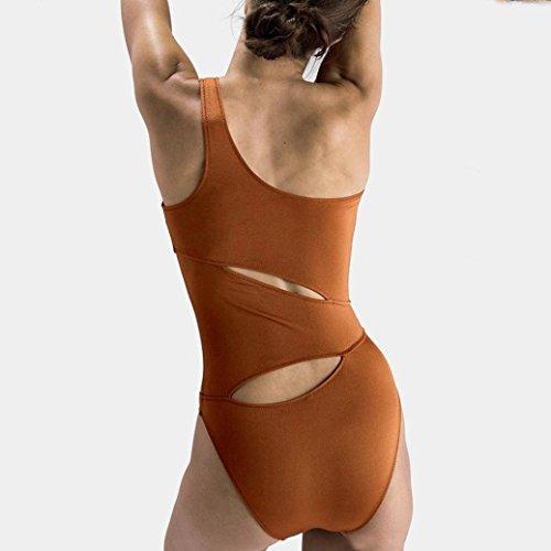 zycShang Femmes En Maillot Sexy De Creux Marron De Un Pousse Mode Bikini Nageur En Ensemble Solide Bain rqwrH7XB