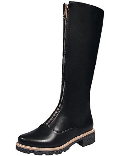 BIGTREE Bottes de genou Femme Casual Plat Confortable Fermeture eclair Automne Hiver Equitation Bottes De Noir