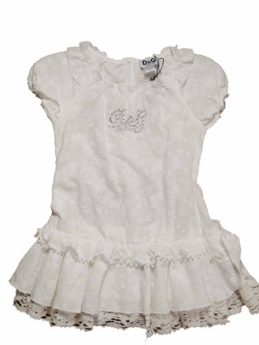 D&G White Lace Ruffle Dress - Junior Dolce Gabbana