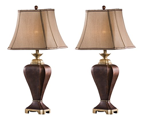 Kings Brand Coffee & Brown Finish Table Lamp With Fabric Shade (Set of 2 Lamps)