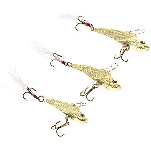 Gold Hard Fishing Bait Sequins 3pcs/lot 8g/12g/18g Sequin VIB Fishing Lures with Treble Hooks