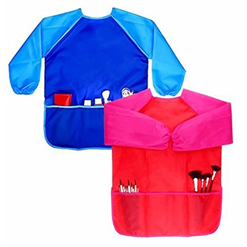 SODIAL Children Art Smock, 2 Pack Long-Sleeved Kids Painting Apron with Front Pockets 3-8Years Old Unisex Toddler 151467