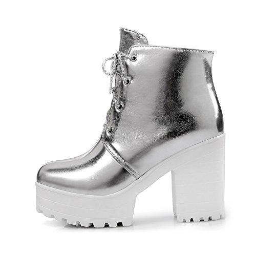 AllhqFashion Damen Niedrig-Spitze Weiches Material Hoher Absatz Stiefel mit Schnalle, Weiß, 41