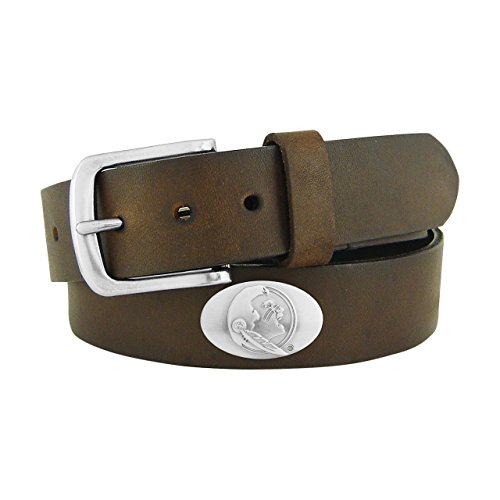 NCAA Florida State Seminoles Brown Leather Concho Belt, 34