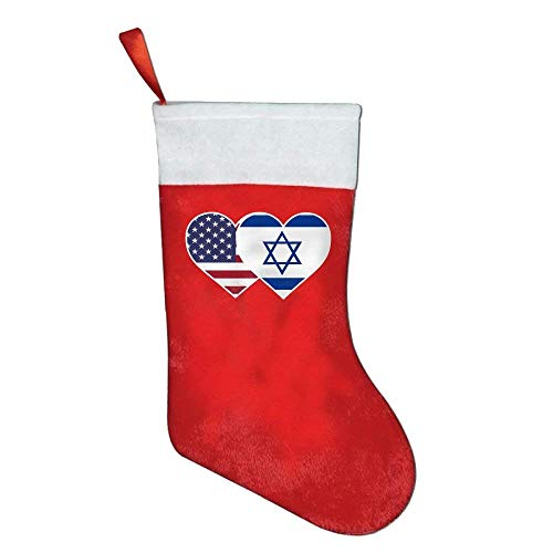 KMAND Christmas Stockings Israel USA Flag Twin Heart Felt Party Accessory by KMAND