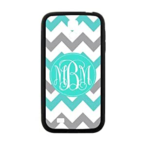 iFUOFF Amazing Cyan and Grey Zigzag Chevron VS Oval Monograms Customized Protective Snap On Fashion Case for Samsung I9500 GALAXY S4 (Black or White 2 Colors)