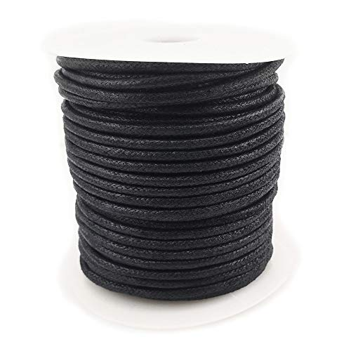 Inspirelle 2.5mm Black Jewelry Making Beading Crafting Macramé Waxed Cotton Cord Rope, 25M Spool ()