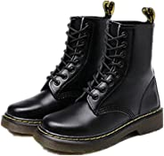 Newbestyle Women or Mens Leather Combat Ankle Boot Martin Shoes with Lace Up Plus Size