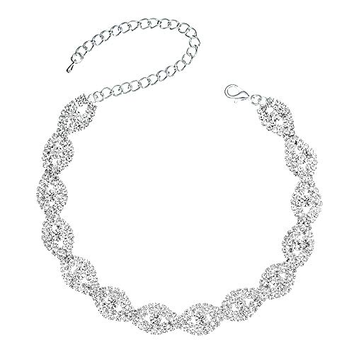 Miraculous Garden Silver Infinity Rhinestone Crystal Choker Necklace Jewelry Gift for Women Girls,Womens Bride Wedding Prom Birthday Party Fashion Necklace Jewelry.