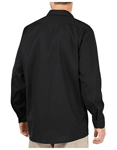 Dickies Occupational Workwear Ll535bk S Polyester Cotton Men's Long Sleeve Industrial Work Shirt, Small, Black