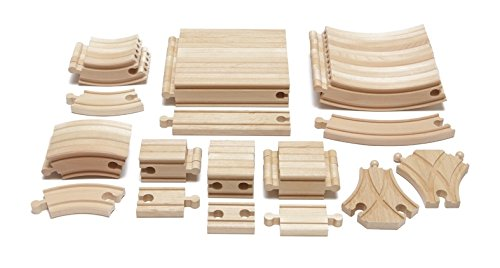Maxim Enterprise Expansion Wooden Train Track Pack - Thomas & Friends/BRIO Compatible (54-Piece)