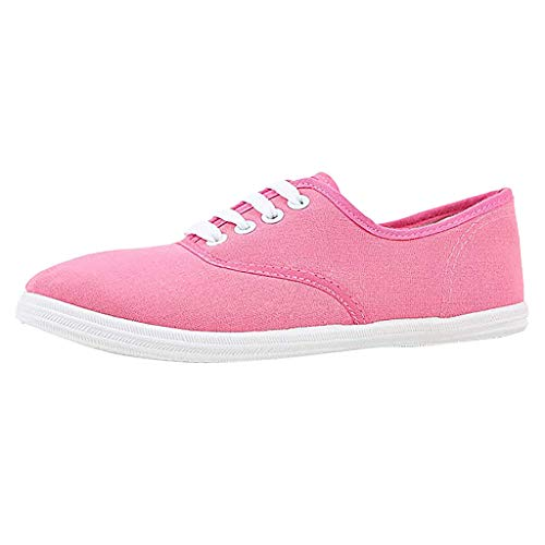 Canvas Flat Sneakers for Women,ONLYTOP Women Summer Sneakers Low Top Lace Up Lightweight Casual Slip on Shoes Pink
