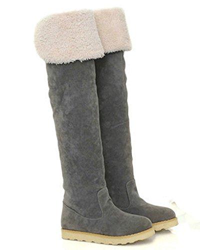Minetom Mujer Otoño Invierno Calentar Botas De Nieve Moda Botas Plataforma Zapatos Planos Gris