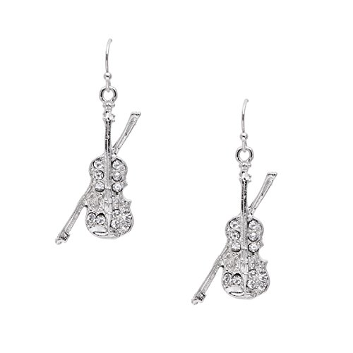 Spinningdaisy Dangling Rhinestone Violin Earrings