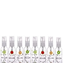 8 Pack Empty 30ml (1.01oz) Clear Plastic Fine Mist Spray Bottle (with fruit pattern) for Cleaning, Travel, Essential Oils, Perfume
