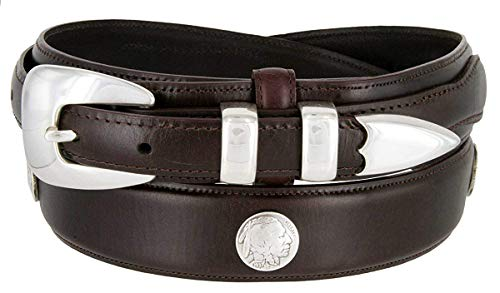 BBBelts Men Oil-Tanned Native American Concho 4 Piece Silver Buckle Leather Belt,Brown 38