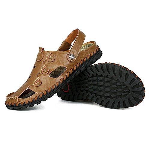 H&W Mens Fashion Casual Slip On Outdoor Summer Leather Sandals Flip Flop Brown siTlglFyb