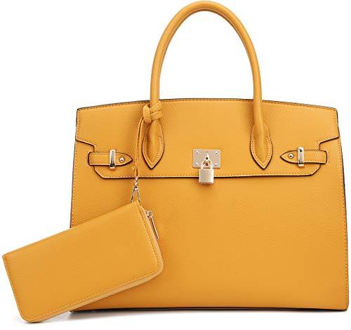 (DELUXITY Women's Designer Top Handle Satchel Handbag Tote Bag Briefcase 2pc set   Mustard)