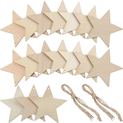 Tatuo 50 Pieces Wooden Star Cutouts Christmas Star Wooden Ornaments Hanging Ornaments with Ropes for Embellishments, Wedding, DIY, Craft, Festival ()