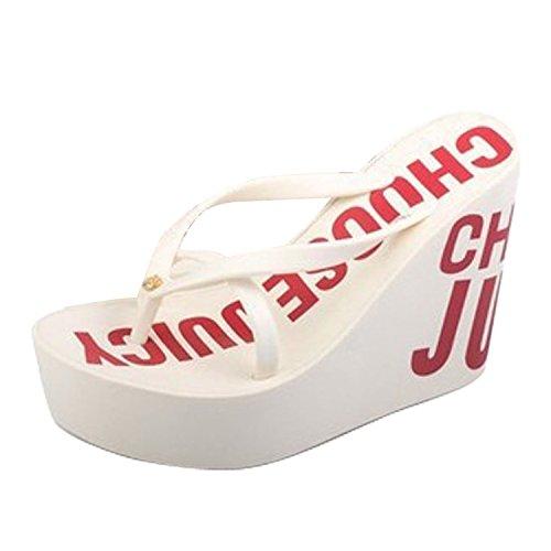 para Sandalias Flop alto Minetom verano de Plataforma 2 cuña Toe de de Zapatos Blanco Flip Plataforma caminar tacón qrqn7w6WA