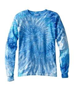 Tie Dye d mens 5.4 oz. 100% Cotton Long-Sleeve Tie-Dyed T...