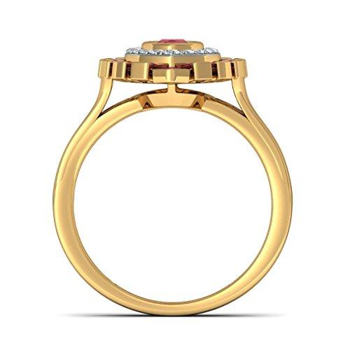 14K Or jaune, 0,18carat Diamant Blanc (IJ | SI) Rubis et diamant Bague