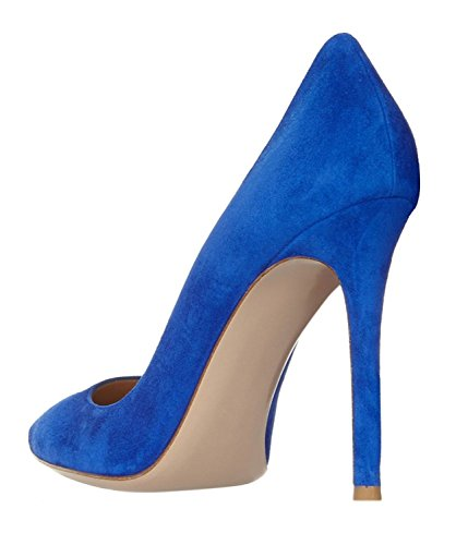 Heels Pumps ELASHE Closed Stiletto High Pumps Women's Toe DressCourt Blue Pointed High Heel qffwSzxOT
