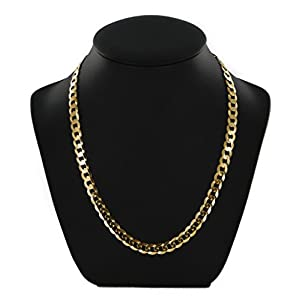 9ct Yellow Gold Flat Bevelled Curb Chain Necklace – 7mm Thick – Various Lengths – 20, 22 and 24 Inch Long