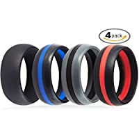 4 Pack Silicone Rubber Wedding Engagement Ring Sports Crossfit Gym Athletes Exercise